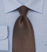 Solid Espresso Brown Tie in Kids Length