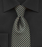 Pure Silk Tie in Muted Gold and Forest Green Check