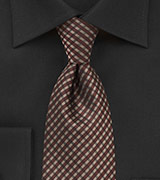 Men's Plaid Tie in Redwood Brown