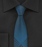 Teal and Black Skinny Necktie