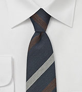 Trendy Skinny Tie in Navy, Gray, Brown