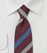 Wine Red Striped Skinny Tie by BlackBird