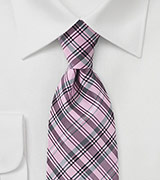 Graphic Plaid Tie in Pinks and Greys