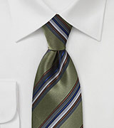 Traditional Striped Tie in Olive Green