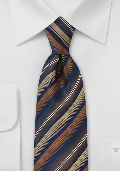 Striped Tie in Navy, Copper an Gold