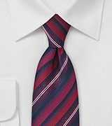 Savvy Striped Tie in Reds and Navys