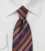 Navy Tie with Burnt Orange Stripes