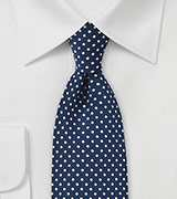 Midnight Blue Tie with Silver Diamonds