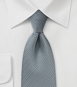 Silver Gray Ribbed Textured Tie