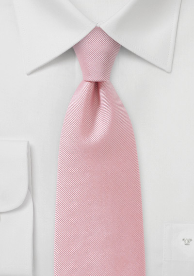Ribbed Tie in Metallic Rose Petal Pink
