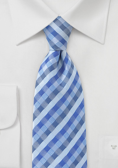 Tonal Blue Check Tie in XL Length