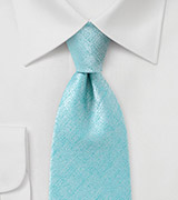 Light Aqua Textured Tie in Extra Long Length