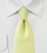 Chartreuse Hued Tie with Intricate White Paintbrush Design