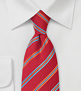 Firetruck Red Tie with Narrow Stripes