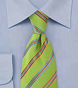 Striped Pea Green Tie