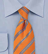 Unique Striped Tie in Tangerine, Blueberry, and Taupe