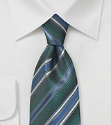 Hunter Green, Blue, and Silver Striped Tie