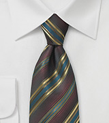 Mahogany Brown Tie with Golden Stripes