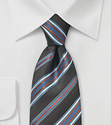 Espresso Brown Tie with Light Blue Stripes