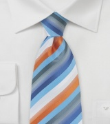 Striped Tie in Blue, Orange, and Gray