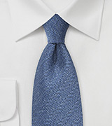 Herringbone Tie in Faded Denim Blue