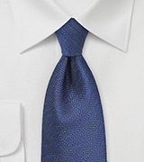 Navy and Royal Blue Herringbone Tie
