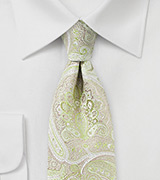 Paisley Designer Tie in Chartreuse