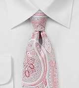 Silver and Coral Red Paisley Design Necktie