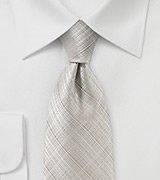Geometric Check Tie in Stone Gray