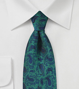 Glass Green and Blue Paisley Necktie