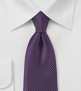 Striped Tie in Grape Purple and Black