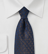 Elegant Mens Tie in Navy with Bronze