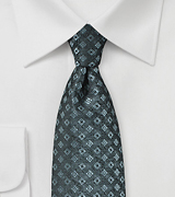 Steel Gray Tie with Diamond Check Weave