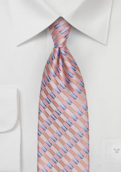 Salmon Pink Checkered Tie