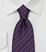 Dark Purple Striped Silk Tie by Tino Cosma
