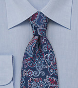 Floral Tie by Tino Cosma in Navy Red